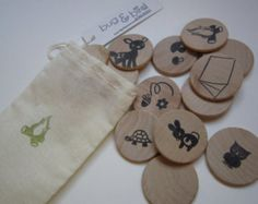 Camping in the Woods- Memory Game- Wooden Matching Game- Wood Pieces- Natural Toy