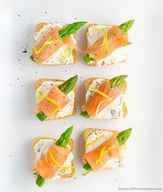 The pretty Smoked Salmon Canapés are great for a party. Don't skip on the lemon zest - it adds a burst of freshness to this creamy and rich appetizer.