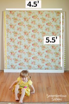 Photography Backdrop - Vintage Blue Floral With Top and Bottom Rod Casings - 4.5' x 5.5'  READY TO SHIP. $35.00, via Etsy.