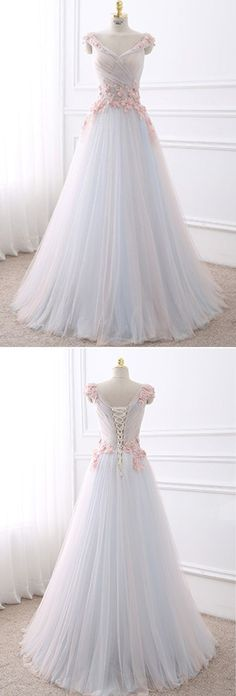 Unique ,tulle ,long, ruffles, A-line evening dress , appliqué, V neck , off shoulder,evening dresses ,2018 new fashion ,Prom Dress