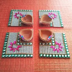 Decorative Kundan Diya Plate & Diya 8 Pice - Online Shopping for Diyas and Lights by Dipti Art & Craft - Online Shopping for Diyas and Lights by Dipti Art & Craft