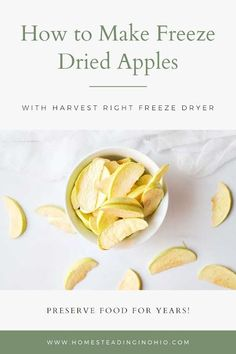 How to make freeze dried apples. Learn how to freeze dry food at home with Harvest Right freeze dryer recipes. This is an easy recipe using a freeze dryer machineto make freeze dried apples. How to freeze dry apples to preserve it for many years. Freeze dried fruit can be stored for up to 25 years! A freeze dried fruit recipe is a must for homesteading or prepping. Learn how to freeze dry fruit for long term storage. You can use a Harvest Right freeze dryer at home to make freeze dried foods. Dried Apple Chips, Dried Apples, Fruit Recipes, Snack Recipes, Healthy Recipes, Harvest Right Freeze Dryer, Freeze Dried Fruit, Freeze Drying Food, Dehydrated Food