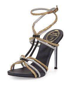 Crystal Ankle-Wrap Sandal, Black