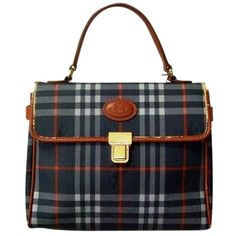 Pre-owned Burberry Vintage Canvas And Leather Made In Italy Plaids... (3.080.145 IDR) ❤ liked on Polyvore featuring bags, handbags, plaids, vintage handbags, leather satchel purse, leather handbags, plaid handbags and canvas purse