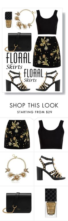 """""""The Perfect Summer Floral Skirt"""" by maria-charp ❤ liked on Polyvore featuring Topshop Unique, Calvin Klein Collection, Anne Klein, Balenciaga, Mulberry, Gucci and Floralskirts"""
