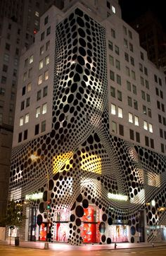 The exterior of Louis Vuitton's New York flagship.- THE JAPANESE ARTIST YAYOI KUSAMA -Sponsored by Louis Vuitton and organized with Tate Modern in London, the show also includes a recently produced documentary, Kusama: Princess of Polka Dots.