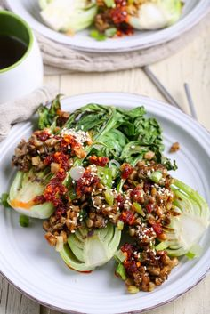 Grilled Bok Choy with Salty + Spicy Oyster Mushrooms