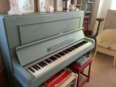 Beautiful duck egg blue piano.  Vintro Chalk Paint.  www.vintro.co.uk