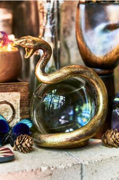 Gold Snake Crystal Ball- Earthbound Trading Co. - Earthbound Trading Co. Wiccan, Witchcraft, Crystal Ball, Crystal Room, Crystal Decor, Witch House, Witch Aesthetic, Gothic Home Decor, Gothic House