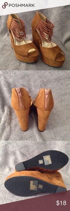 💕💕FLASH SALE Brand new Zuka wedges Beautiful brown suede with zipper backs brand new Zuka Shoes Wedges