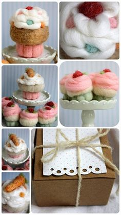 Sunny Sweet Life: Felting Series, Part Needle-Felted Cupcakes! Cheesy Chicken, Cream Of Chicken Soup, Wet Felting, Needle Felting, Crochet Crafts, Sewing Crafts, Knit Crochet, Ice Cream Deserts, Fleece Projects