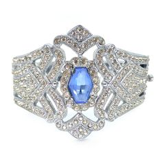 Vintage Art Deco Silver Metal Paste Blue Glass Ornate Evening Bracelet | Clarice Jewellery