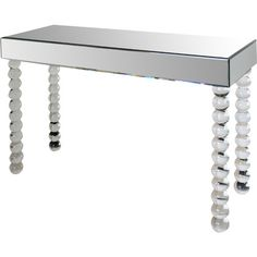 Perfect for your home office, vanity, or den, this eye-catching console table features stacked orb legs and shimmering mirrored panels.