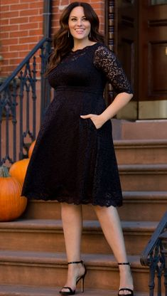 Little Black Cocktail Dress Plus Size -  Black Lacey Cocktail Dress embodies sophistication in every way. Simple yet elegant, this plus size LBD  is the perfect look for so many occasions. Classic Little Black Dress Made exclusively in women's plus sizes.