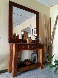 Consola y espejo rusticos