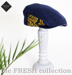 Ankara Print and Navy tweed flat cap  ivy cap 100% manufactured in  Yorkshire. c440e1e54c72