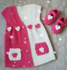 "diy_crafts- ""Baby vest knitted with bear pattern. Its size idela for 0 - 1 age babies."", ""This post was discovered by Ayt"", ""This model w Diy Crafts Knitting, Knitting For Kids, Baby Knitting Patterns, Knitting Designs, Knitted Baby Cardigan, Knit Baby Sweaters, Baby Knits, Crochet Girls, Knit Crochet"
