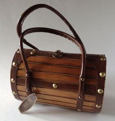 Vtg Roger Van S Designer Wood Barrel Purse Studded Bag 60s Japan Boho Chic NWT