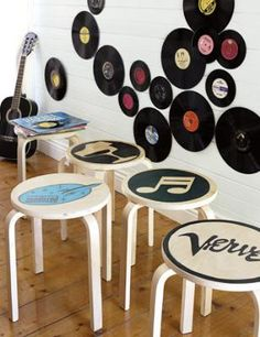 For the music room :) Add pop to plain wooden stools with transfer-and-paint stencils. Also, Vinyls on walls are just too cool