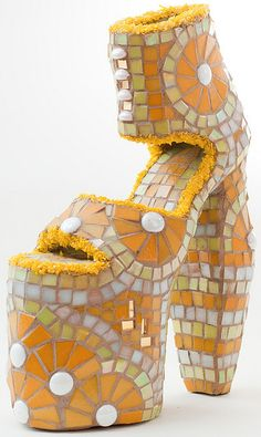 Crazy platform heels - open toe with ankle strap: yellow, orange and white mosaic tiles. Creative Shoes, Unique Shoes, Heeled Boots, Shoe Boots, Shoes Heels, High Shoes, Funny Shoes, Weird Shoes, Crazy Heels