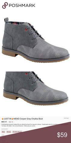 🔶️JUST IN🔶️ MEN'S Cooper Gray Chukka Boot Contrasting textures make this an attractive boot for casual or dress.  Cushioned sole for comfort and ankle support.  1 in heel, 3in shaft, 10in circumference.  More pics to come... Shoes Chukka Boots