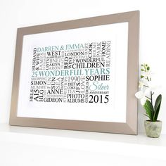 Are you interested in our personalised silver anniversary word art? With our silver wedding anniversary you need look no further.
