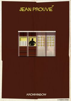 Archiwindow by Federico Babina. Architect silhouettes pose inside iconic windows for Federico Babina's Archiwindow series Architecture Images, Architecture Details, Interior Architecture, Architecture Posters, Interior Design, Big Architects, Famous Architects, Window Poster, Jean Prouve