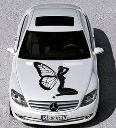 Car Hood Vinyl Decal Graphics Stickers Art Mural Floral Butterfly Girl KJ541