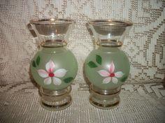 Vintage 40's floral design vases handpainted by FabulousFinds1, $19.99