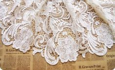 lace fabric   hollowed flowers  D8 white/black by xoxoFabric, $20.00
