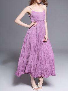 Shop Midi Dresses - Purple Cotton Plain Spaghetti Spaghetti Midi Dress online. Discover unique designers fashion at StyleWe.com.