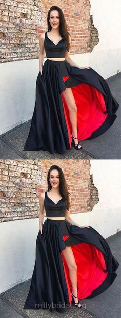 Black Prom Dresses, Two Piece Prom Dresses, Long Prom Dresses 2018, A-line Prom Dresses V-neck, Satin Prom Dresses For Teens Pockets Modest  #prom2k18