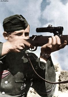 German soldier with k98 fitted with Soviet PU sniper scope   Flickr - Photo Sharing!