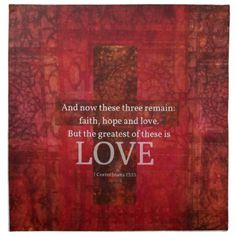 Bible Verses About Love   ... red cross painting with biblical quote about love and faith and hope