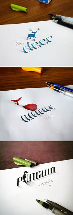 Electrical Engineer Creates Calligraphy That Leaps Off The Page - Bleistiftzeichnung 3d Drawings, 3d Art Drawing, Drawing Animals, Drawing Ideas, Art Graphique, Pencil Art, Word Art, Art Lessons, Creative Art