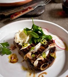 Seared scotch fillet with ricotta, white anchovies & a parsley, radish & shallot salad | Karen Martini