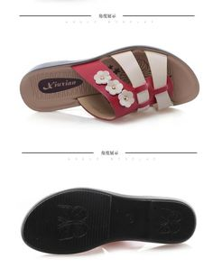 Summer ladies cool slippers mother leather color rough with sandals in the old slope with large yards flat anti-skid slippers