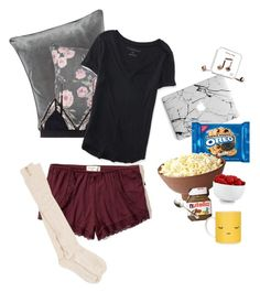 """""""Lazy dayzzzzz"""" by maciestockman ❤ liked on Polyvore featuring M&Co, LoveStories, Cosabella, Hollister Co., Aéropostale, The Cellar, Juliska and Happy Plugs"""