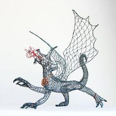 Dragon Queen Wire Sculpture by Ruth Jensen 3d Doodle Pen, Chicken Wire Art, Stylo 3d, Fire Breathing Dragon, 3d Pen, 3d Drawings, Pen Art, 3 D, Arts And Crafts