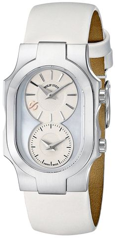 Philip Stein Women's 100-SMOP-IW Swiss Signature Stainless Steel Watch with White Leather Band * Click image for more details.