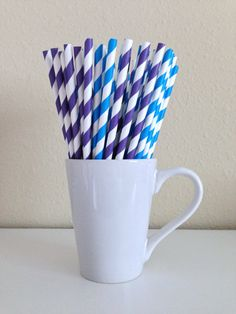 25 Purple and Blue and White Striped Paper Party Straws and DIY Printable Drink Flags / Wedding / Birthday / Shower
