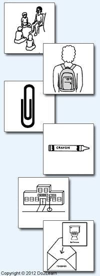 Do2Learn: Educational Resources for Special Needs-- great picture cards to make a chart for a routine