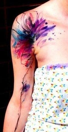 Aquarell Farbklecks Tattoo