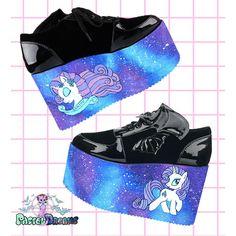 235c1dba66b6 Hand painted YRU galaxy my little pony rarity inspired platform flatform  shoes made to order fairy kei pastel goth