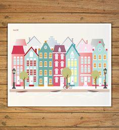 Amsterdam ciudades ilustraciones digital por Ilustracionymas