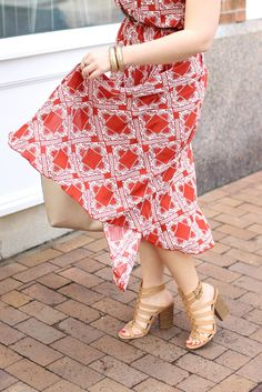 Lulu's Pondering Petals Rust Red Print Midi Dress | Casual Summer Outfit | Style on Living After Midnite by Jackie Giardina