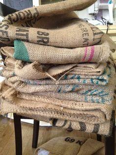 The Coffee Sack Situation. Coffee Bean Sacks, Burlap Coffee Bags, Burlap Sacks, Linen Bag, Couture, Potato Bag, Family Christmas Pictures, Thread Painting, Aprons
