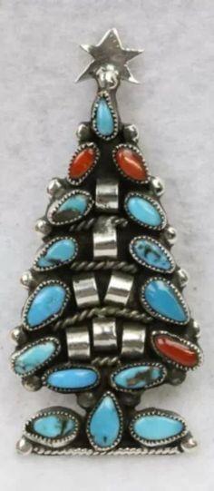 Turquoise and silver JMB Navajo Christmas pin