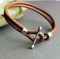 Mens Leather Bracelet Rustic Natural Light Brown Handmade. $74.00, via Etsy.
