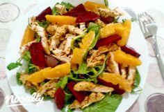 Narancsos-céklás csirkemellsaláta | Nosalty Salad Recipes, Healthy Recipes, Healthy Meals, Bulgur Salad, Naan, Cobb Salad, Chicken, Ethnic Recipes, Food